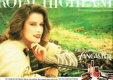 Publicité advertising 108  1982    maquillage Lancaster (2p) vernis rouge lèvres