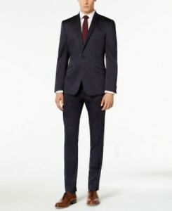 Kenneth Cole Skinny Fit Stretch Solid Shine Navy Suit Mens 44R 37 x 32 $450