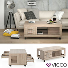 VICCO Couchtisch BRUNO 120x65cm mit Schublade Sonoma Eiche Wohnzimmertisch
