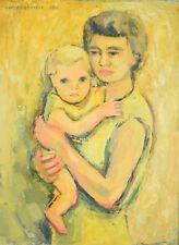 Vintage Mid-Century 1962 Lars Birger Sponberg Tender Oil Painting Mother w Child