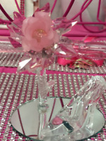 Party Favor with Satin Bow Set of 2 Princess Acrylic Clear Slipper Cake Topper