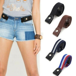 Buckle-free Elastic Invisible Belt for Jeans No Bulge No Hassle PU Leather
