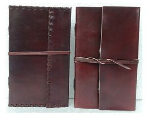 Leather Diary Journal Sketchbook leather Cover Blank Paper Notebook Lot of 4
