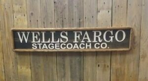 WELLS FARGO Stage Coach Co./Carved/Rustic/Wood/Sign/Western/Décor/Old West