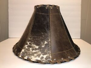Handmade Cowhide and Leather Lamp Shade | Western | Rustic | Tuscan | Lamps