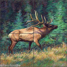 "Elk Tile Medallion Mural McDonald Wildlife Animal Art 16"" x 16"" MMA008"