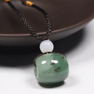 Certified 100% Natural Grade A Green Jadeite Jade Pendant Lucky Bead Bucket 8165