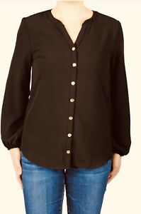 "Women's Haley and the Hound Blouse ""The Stella Shirt in Brown Crepe"" NWT! Medium"