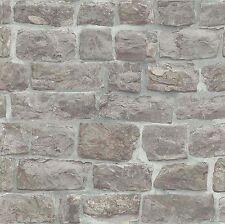 Erismann Carta da parati Grigio Pallido Mattoni/Muro Di Pietra Lusso Con Texture
