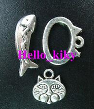 20set Tibetan silver cat fish toggle clasp 3 in 1 A5053