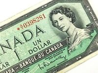 1954 Canada One 1 Dollar Beattie Rasminsky Circulated Replacement Banknote Q970