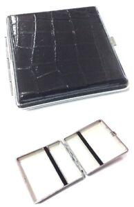 PU Leather Cigarette Case Holder Chrome Metal Tin 20 CIGARETTE HOLDER CASE BLACK
