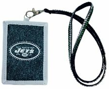 NFL New York Jets Beaded Lanyard Nylon ID wallet Credit Card Pass Holder