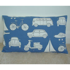 "20""x12"" Oblong Bolster Blue Cushion Cover Camper Van Cars Scooter"