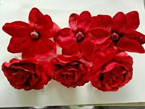 6 Glitter Christmas Decorations Poinsettias Flowers & Rose Red Xmas Garland NEW