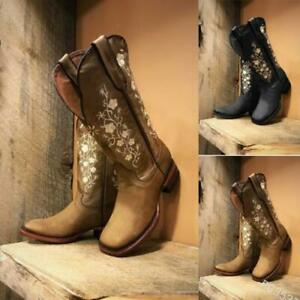Womens New Fashion Floral Embroidered Square Toe Western Cowyboy Boots Shoes SUN