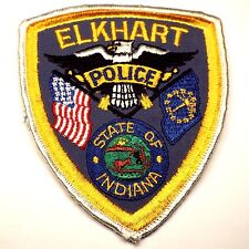 Original Vintage ELKHART Indiana Police Embroidered Patch IN Cheesecloth Back