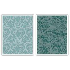 DAMASK & REGAL FLOURISHES Sizzix Texture Fades Embossing Folders 2pk - Tim Holtz