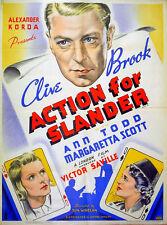 ACTION FOR SLANDER 1937 Clive Brook Ann Todd Margaretta Scott UK QUAD POSTER