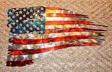 "Patriotic Tattered & Torn & Distressed American Flag Wall Art 31"" x 17 1/2"""