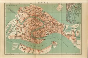1899 ITALY VENICE VENEZIA CITY PLAN Antique FOLIO Map dated