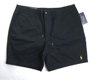 "POLO RALPH LAUREN Men's Black Classic Fit Elastic Waist Prepster 6"" Chino Shorts"