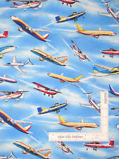 Airplane Fabric - Jet Plane Prop Fly Sky Toss Elizabeths Studio #280 Blue 22""