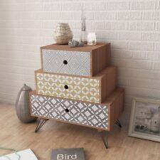 MDF Bedside Cabinet w/ 3 Drawers Side Table Steel Legs Brown Hallway Bedroom