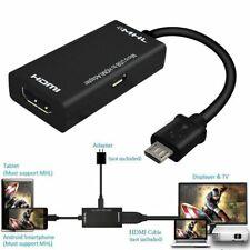 TV MHL Micro USB a HDMI Cable Adaptador para teléfono inteligente Samsung Android 1080P HD