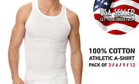 Pack of 3 6 9 12 Mens New A-shirt Undershirt Ribbed Tank Top 100% COTTON tank