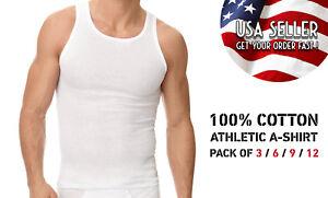 Pack of 3 6 9 12 Mens New A-shirt Undershirt Ribbed Tank Top 100% COTTON tank