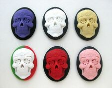 6 Mixed SUGAR SKULL Goth Emo Day of Dead Día de los Muertos 40mm x 30mm CAMEOS