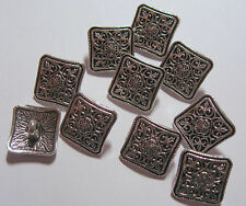 10 x Silver Colour Square METAL Shank Back Buttons approx. 14mm Wide (FD2A)