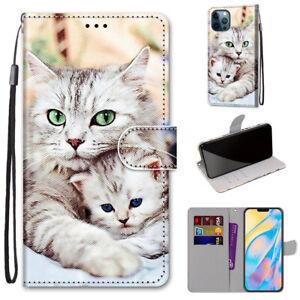 Cute Cartoon Cat Animal 3D Flip Wallet Bracket Case Back Cover For Various Phone