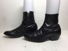 MENS UNBRANDED SHORT COWBOY LEATHER BLACK BOOTS SIZE ?