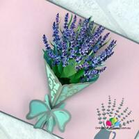 Handmade Lavender Bouquet Pop Up Card, 3D Greeting Cards, Pop Out Flower Cards