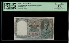 New listing India 5 Rupees ( 1943 ) Pick # 23b Pcgs 45 Extremely Fine.