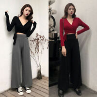Women's Long Sleeves Solid Cross Wrap Bodycon Shirt Casual Sexy V Neck Crop Tops