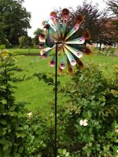 Dynamic24 XL Metall Windrad 178cm bunt Windspiel Doppelwindrad Gartenstecker Gartendeko Deko