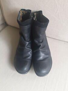 Fly London Black Leather Ankle Boots Size EU 41 UK 8
