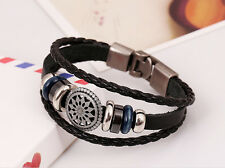 Retro Pirate Style Vintage Braided Leather Bangle Punk Wristband Bracelets new