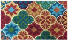 Door Mat Indoor Outdoor Rectangular Multicolor Woven Coir and Rubber 18 X 30