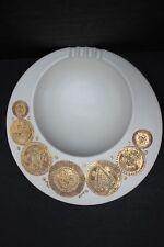 """Vintage Georges Briard Hyalyn Midas Pattern Beige Round Ashtray Gold Sun 10"""""""