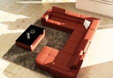 Polster Ledersofa Sofa Couch Wohnlandschaft U Form XXL Big Designersofa Ecksofa