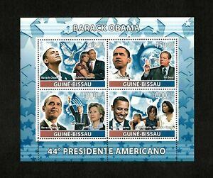 Guinea-Bissau 2008 - 44th US President Barack Obama - Sheet of 4 Stamps - MNH