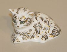 2013 Royal Crown Derby Imari Gold Stopper Paperweight Millie White Kitten Cat