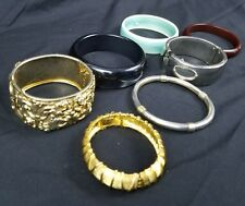 Lot of Bangles and Cuff Bracelets Silvertone Gold Tone Faux Pearl Silver Gold