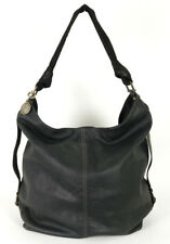 LANVIN Dark Gray Leather Contrast Stitch Zip-Top Large Hobo Bag