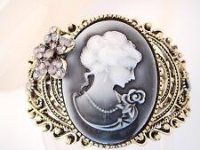 cuff bracelet grey black cameo purple pink crystal flower antique bronze  FIOJ