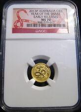 2013-P $5 AUSTRALIA Lunar GOLD SNAKE NGC MS70 ER 1/20 oz 9999 Fine Gold ~~